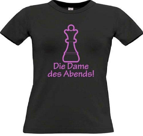 T-Shirt für den Junggesellinnenabschied mit dem Motiv Die Dame des Abends! Black