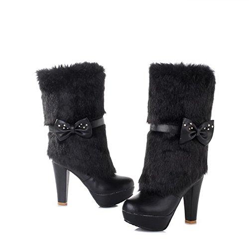 AgooLar Damen Ziehen Auf Hoher Absatz Blend-Materialien Niedrig-Spitze Stiefel mit Schleife Schwarz