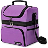 Apollowalker Lunch Box Insulated Lunch Bag Large Waterproof Cooler Picnic Tote Bag for Adult Men, Women, Double Deck Cooler (Purple)
