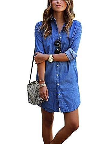 Frauen-Sommer-Denim-Minikleid mit langen Ärmeln lose Jean Mini Shirt (L) (Jeans Kleid)