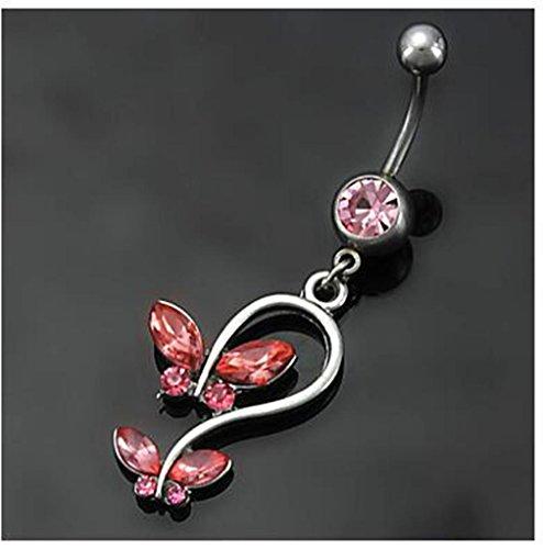 GYJUN Damen Navel & Bell Button Rings Edelstahl / Strass Rot / Blau Schmuck,1pc , red (Sexy Navel Ringe)