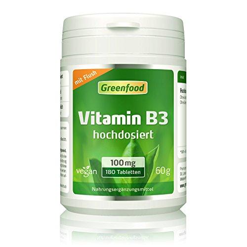 Greenfood Vitamin B3 Niacin (mit Flush-Effekt), 100 mg, hochdosiert, 180 Tabletten, vegan – das Glücks-Vitamin, fördert die Durchblutung. OHNE künstliche Zusätze. Ohne Gentechnik.