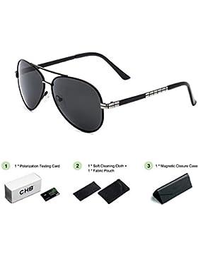 Gafas de Sol Polarizadas para Hombre, Estilo Aviador. Protección UV 400. Incluye Estuche, Bolsa, Paño de Limpieza...