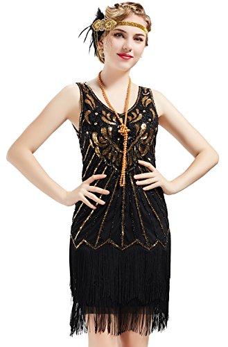 1920er Stil Flapper Kleider mit Zwei Schichten Troddel V Ausschnitt Great Gatsby Motto Party Kostüm Kleider- Gr. M (Fits 78-88 cm Waist & 96-106 cm Hips), Lavendel Gold Schwarz ()