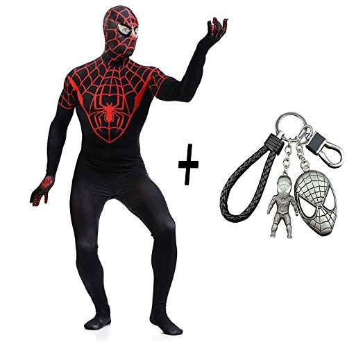 Party Stadt Kostüm Superhelden - WEDSGTV Schwarz Spiderman Kostüm Lycra Spandex Erwachsene Unisex Strumpfhosen Cosplay Superheld Overall Party Outfit Halloween Kleidung + Spiderman Keychain Set,XL