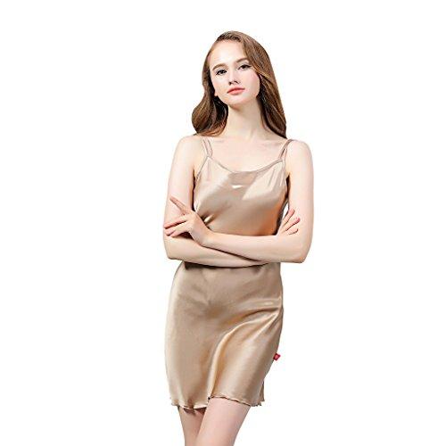 VANSILK 19mm 100% Soie Femme Chemise de Nuit Sexy Nuisette Bretelles Reglables Pure Douceur Robes Peignoir Café