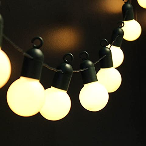 Outdoor Festoon Party Lights - 4.75m Lit Length - Dark Cable - Warm White LEDs by Festive Lights