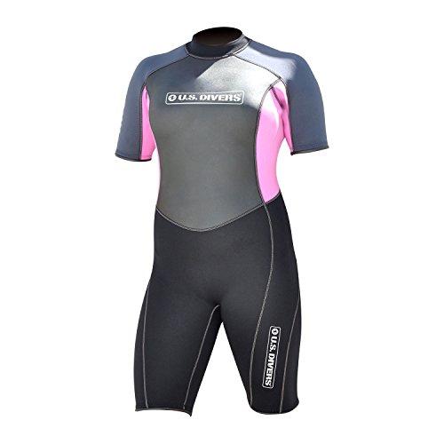 USA US Divers Damen Shorty Neoprenanzug für Surfen/Schnorchel/Sea, schwarz/rosa