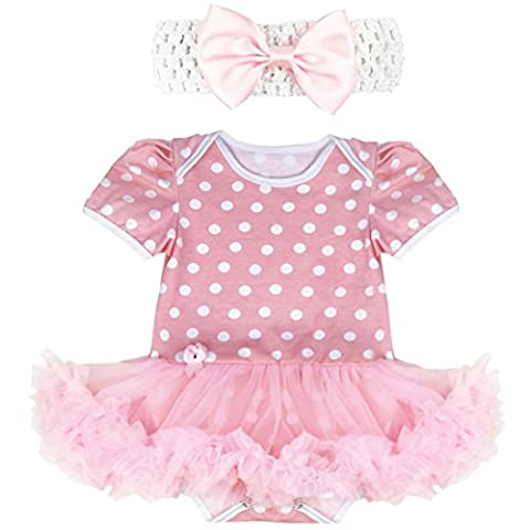 iEFiEL Vêtements Bébé Fille Costume Noël Barboteuse & Bandeau Cheveau Enfant 0-9 Mois Rose 6-9