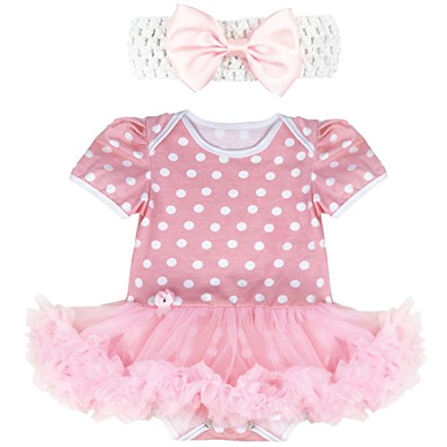 Tiaobug Neugeborenes Baby Kostüm Mädchen Kleidung Set Sommer Outfits Bekleidungsset Tutu Rock Fasching Kanerval 0-9 Monate (0-3 Monate, Rosa Polka Dots) (Baby 0 6 Monate Kostüme)
