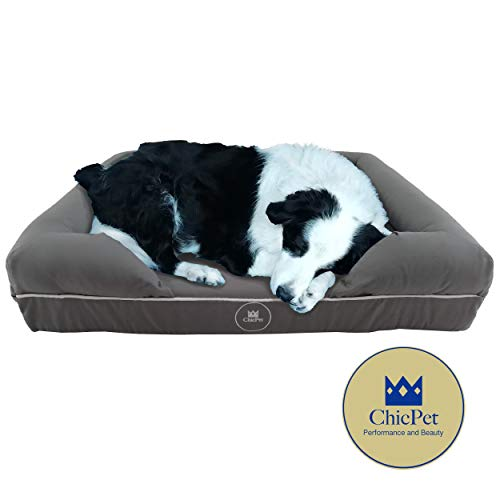ChicPet-UK-PREMIUM-Memory-Foam-DOG-BED-Size-LARGE-92x72x23cm-Orthopaedic-Mattress-Waterproof-Scratch-proof-Breathable-Cotton-Cover-Removable-Washable-Easy-to-Clean-Grey