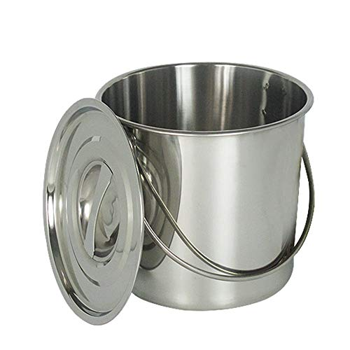 YIYIBY Edelstahl Eiseimer 12 Liter viele Anwendungen Fisch-Eimer Schlachte-Eimer Küche Kompost Eimer Abfalleimer mit/Deckel Entfernbarer