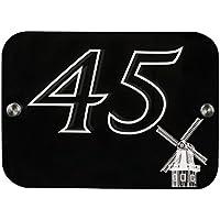 Haus Zeichen Zahl Plakette Nach Maß mit Emblem - Windmühle | 6 Designs | 12 Farben