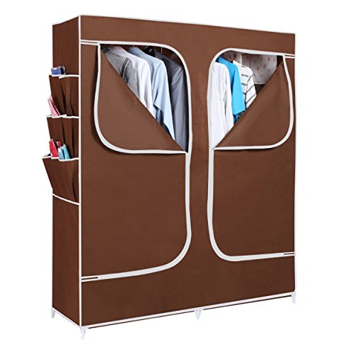 Evana 5 Feet Creative Cabinet Easy Installation Folding Wardrobe Cupboard Almirah Foldable Storage Rack Collapsible Cloths Organizer (Brown)