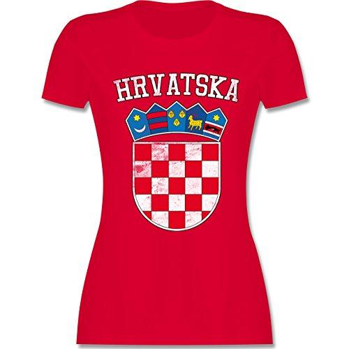 Fußball-Europameisterschaft 2020 - Kroatien Wappen WM - M - Rot - L191 - Tailliertes Tshirt für Damen und Frauen T-Shirt