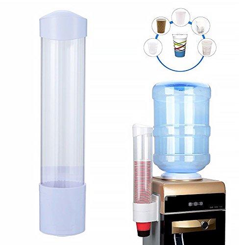 Dispensador de tazas desechables, dispensador de vasos de plástico para montaje en pared, dispensador de tazas de agua Tamaño libre blanco