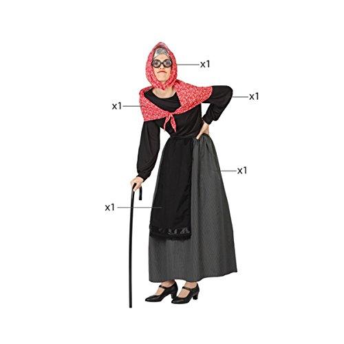 Imagen de mela proibita  traje abuela anziana mujer antiguo befana vieja dama disfraz de carnaval  negro, xs s alternativa