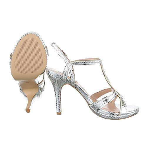 High Heel Sandaletten Damen Schuhe Plateau Pfennig-/Stilettoabsatz High Heels Schnalle Ital-Design Sandalen / Sandaletten Silber