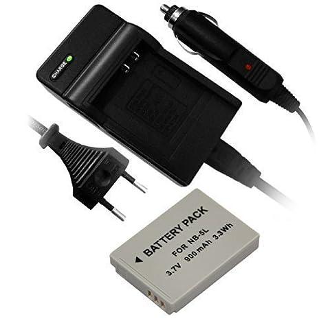 piles pour Canon NB-5L + Chargeur adaptéà PowerShot S100, SD700 EST, SD790 est, D800 est, SD850 est, SD870 est, SD890 est, SD900 TI, SD950 est, SX200 est