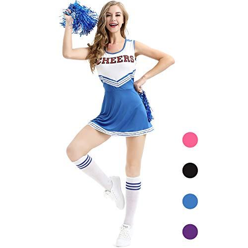 AIZYR Cheerleader-Kostüm, Damen Cheerleader Kostüm Outfit Uniform Tank Top Petticoat mit - Womens Blue Cheerleader Kostüm