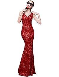 Beauty-Emily Tren del barrido de las lentejuelas rayas vestido de fiesta