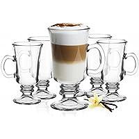 6 de irlandés de café vasos con asa y 6 de acero inoxidable con tapa-Cuchara de incluye Latte Macchiato