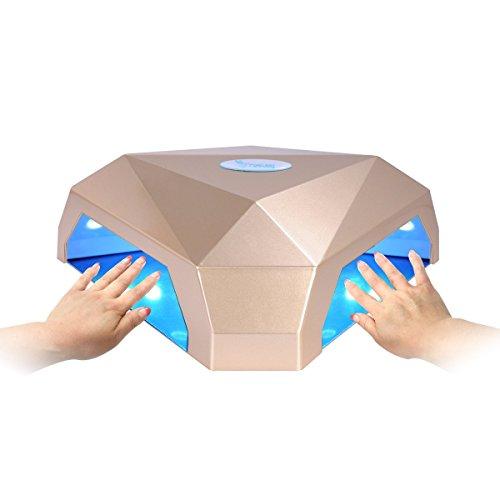 """Secador de Uñas, Erosway Lámpara de uñas de 60w, curación para dos manos a la vez, temporizador 5""""-120"""" y con o sin sensor de infrarrojos. Cura los geles de uñas LED y UV. Provisto de enchufe del Reino Unido y enchufe de la UE.(Dorado)"""