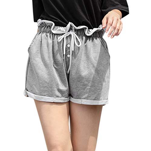 WOZOW Shorts Kurze Hose Damen Rüschen Solid Einfarbig Casual Lose High Waist Mini Weites Bein Palazzo Freizeithose Stoffhose Tie Riemchen Arbeitskleidung Mode Trousers (M,Grau) (Diy Löwe Kostüm Baby)