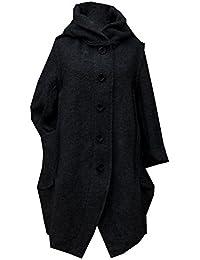 GG Damen-Frauen Italian Lagenlook Quirky 5-Tasten-Wolle mit langen Mantel mit Kapuze Jacke