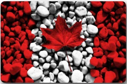 fgdhfgjhdgf Abstract Canadian Flag red Maple Leaves Pattern and Pebbles Machine Clean Top Fabric & Non-Slip Rubber Backing Durable Indoor/Outdoor Doormat Door Mats