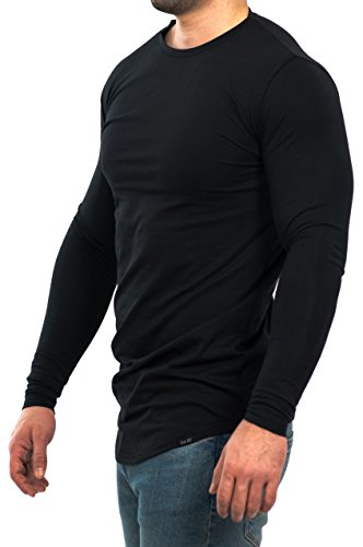 D.K Fit Oversize Langarm/Longsleeve Shirt - Muscle Fit - Slim Fit- Perfekt für deinen trainierten Körper (Medium, Black) (Pack Gym)