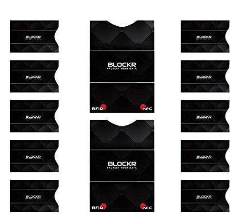 Blockr, Premium RFID Blocker und NFC Schutzhüllen Blocker für Bankkarten, EC-Karten, Kreditkarten, Personalausweis und Pässe. Schützt zuverlässig gegen unerwünschtes Auslesen Ihrer Karten (10+2 Stück)