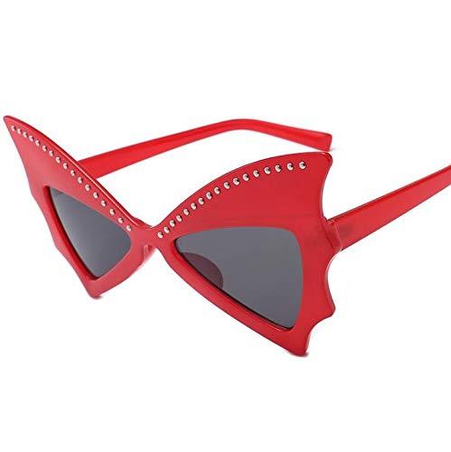 AHIMITSU Sonnenbrille, Schmetterlingsform, große Ruhmensonnenbrille, Persönlichkeitsbrille für Damen und Herren, rot