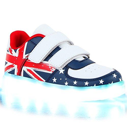 Sofort lieferbar aus DE - Leuchtende und Blinkende Damen Herren Kinder Mädchen Jungen Sneakers High und Low Led Light Farbwechsel Schuhe LED Licht Weiss Blau Klett UK