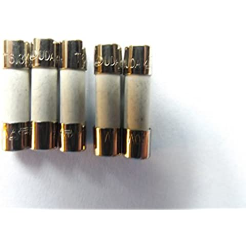 Fusible 5 A 20 mm HBC contra sobretensiones/tiempo retardo para cisterna de inodoro T5A H 250 V cerámica x5Pcs
