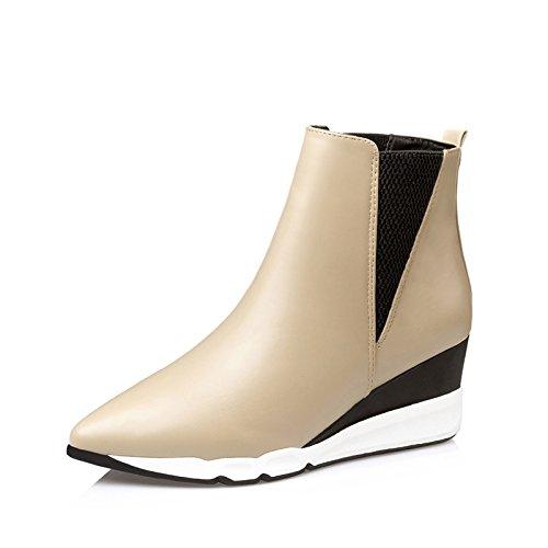 FLYRCX Autunno e Inverno stivali scarpe di pelle ladies breve sottolineato scarpe con i tacchi alti C