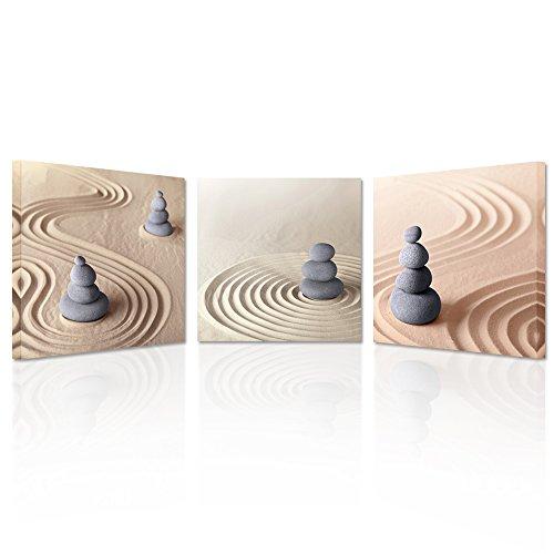 Creative Zen Zen Stone (Creative Arts Wandsticker, 3-teilig, Motiv Zen Stone auf Leinwand gespannt und gerahmt, Giclée-Druck, fertig zum Aufhängen, Moderne Innendekoration, Wandbehang, 30,5 cm L x 30,5 cm H)