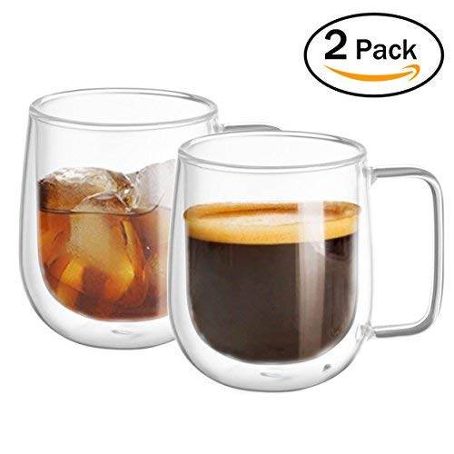 Glas Kaffeetasse Doppelwandig, WZOED isoliert Thermo Glasbecher Highball Glasbecher für Bier/Cocktail/Limonade/Eistee/Kaffee/Saft/Milch, Satz von 2 (aus echtem Glas, nicht aus Kunststoff)