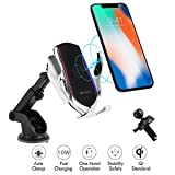 Hinyx Wireless Car Charger, 3 in 1 Qi 10W Fast Wireless Auto-Clamping Charge Car Air Vent+Dashboard Mount Phone Holder for iPhone 11 XS Max XR X 8 Plus, Samsung S9/S9+/S8/S8+/S7/Note 8/Note 5