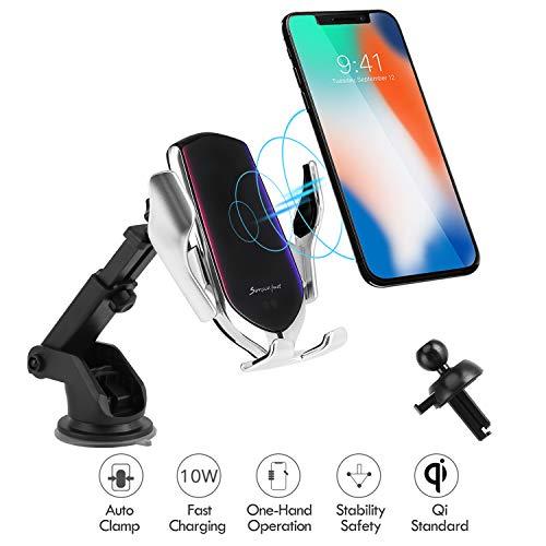 Hinyx Kabelloses Auto Ladegerät, Qi 10W Schnellladung Automatisches Spannen Auto Entlüftung+Windschutzscheibe Halterung Handyhalter für iPhone 8/8 Plus/X/XS/Max/XR, Samsung S9/S9+/S8 (Silber-Saugnapf) -