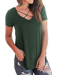 Damen Kurzarm T-Shirt Oberteile Blusen Frühling Sommer V-Ausschnitt  Blusenshirt Frauen Casual Locker 275c164c4d