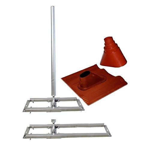 SkyRevolt Aufsparrenhalter Set mit 1meter Mast, Stahl, Dachsparrenhalter + Dachabdeckung + Manschette Rot