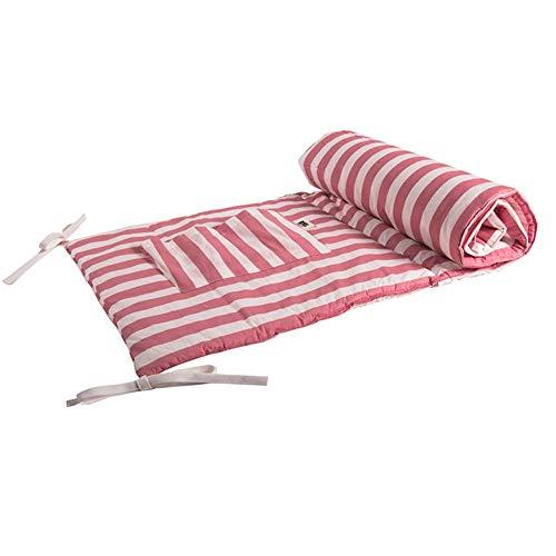 Baumwolle atmungsaktiv Krippe Bumper Pads Maschine waschbar gepolsterte Krippe Liner Set für Babys Mädchen Safe Bumper Guards Krippe Rail Padding (Farbe: weiß + rot, Größe: 123 x 74 cm)
