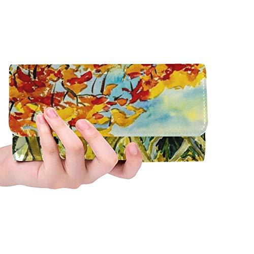 JOCHUAN Einzigartige benutzerdefinierte abstrakte Aquarell Landschaft Original Gemälde bunte Lager Abbildung Frauen Trifold Brieftasche lange Geldbörse Kreditkarteninhaber Fall Handtasche -