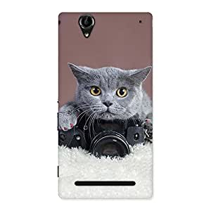 Stylish Kitty Photographer Multicolor Back Case Cover for Sony Xperia T2