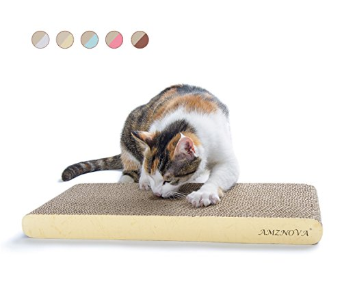 AMZNOVA Wellpappe Kratzmatten Kratzbrett für Katzen, Recycelbar Kratzpad, Kratzlounge Kratzbaum mit Katzenminze