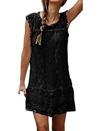 TPulling Damen Ärmelloses Kleider Frau Mode Einfarbig Bedrucktes Ärmelloses  Spitzenrockkleid Beiläufige Strand-Kurzschluss-Kleid… abe2cf4a78