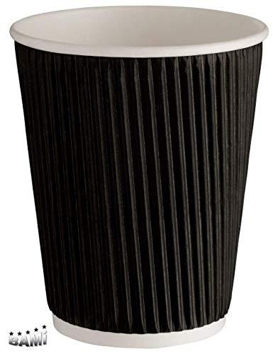 BAMI 100 Stück Kaffeebecher Riffelbecher Einweg Tee Kaffee Cappuccino Heiße Getränke schwarz, 0,4l, 16oz. Pappe, geriffelt, doppelwandig (16 Oz Kaffee-becher Einweg)