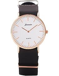 UQ Montre quartz-Analogique-Unisexe-B3 104-Rond-Simple classique-Cadran Blanc-Bracelet cuir Noir