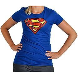 """cosa - Superman Vintage logo"" camiseta, Royal Blue para mujer T-camiseta talla M"